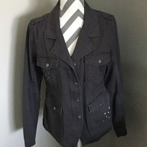 Charcoal Grey Military Style Jacket